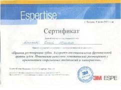 Сертификат. Прямая реставрация зубов
