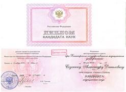 Диплом кандидата наук Созонюку Александру Даниловичу